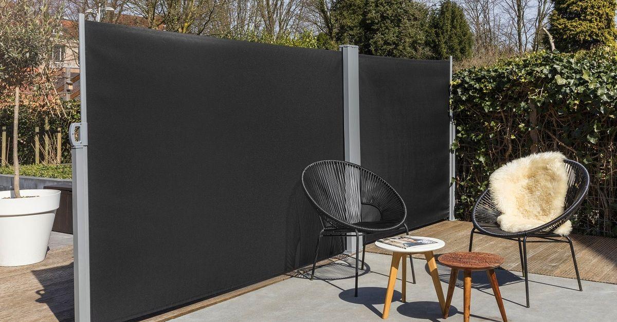 Double pare-vent noir rétractable (6 mètres)