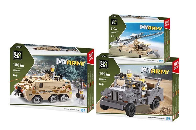 3 legervoertuigen van Blocki-bouwstenen