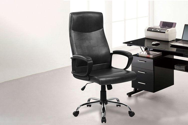 Luxe Leren Bureaustoel.Zwarte Bureaustoel Van Puleer Model Augusto Aanbieding Slajeslag