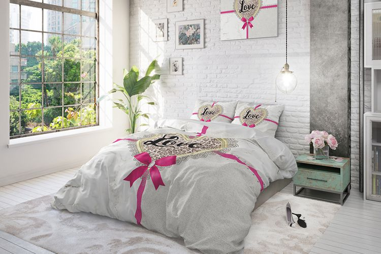 housse de couette all you need is love couleur sable housse de couette en coton all you need. Black Bedroom Furniture Sets. Home Design Ideas