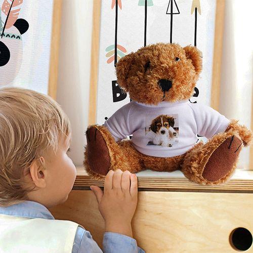 Teddybeer met eigen foto (donker- of lichtbruin)