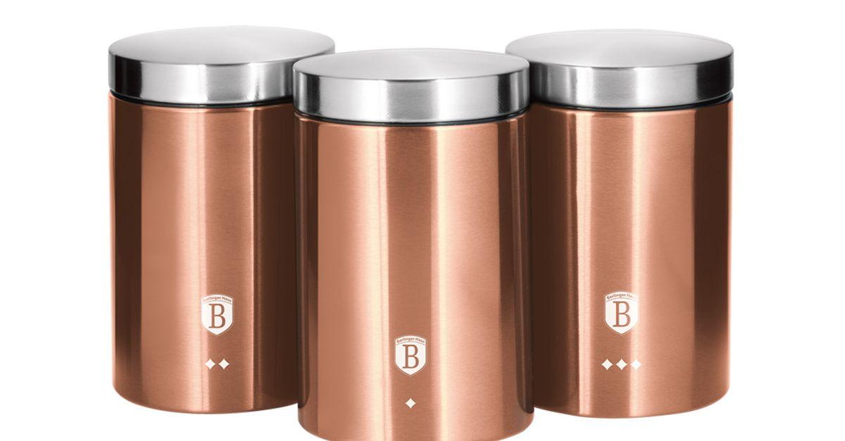 3 boîtes de rangement en or rose de Berlinger Haus