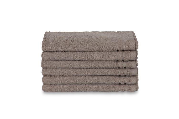 6 taupekleurige handdoeken (70 x 140 cm)