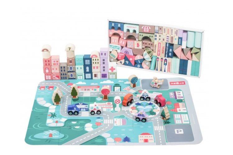Houten dorp blokkenset met speelmat