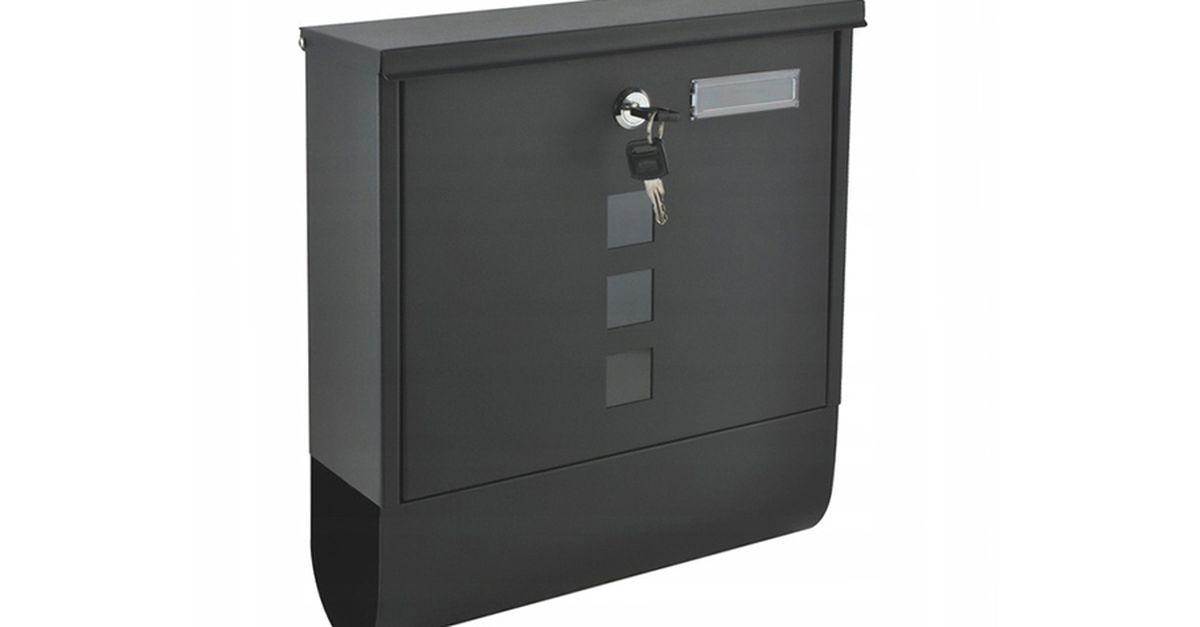 Boîte aux lettres gris foncé avec porte-journaux