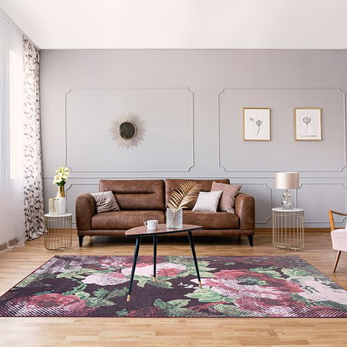 Bloemenprint vloerkleed (160 x 230 cm)