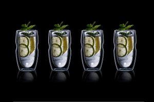 4 dubbelwandige shotglazen van Masterpro