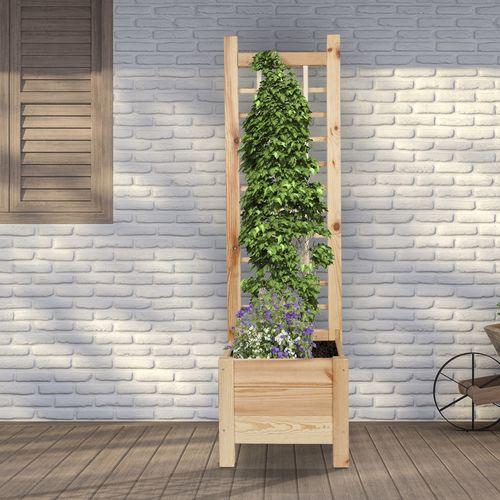 Houten plantenbak met rek