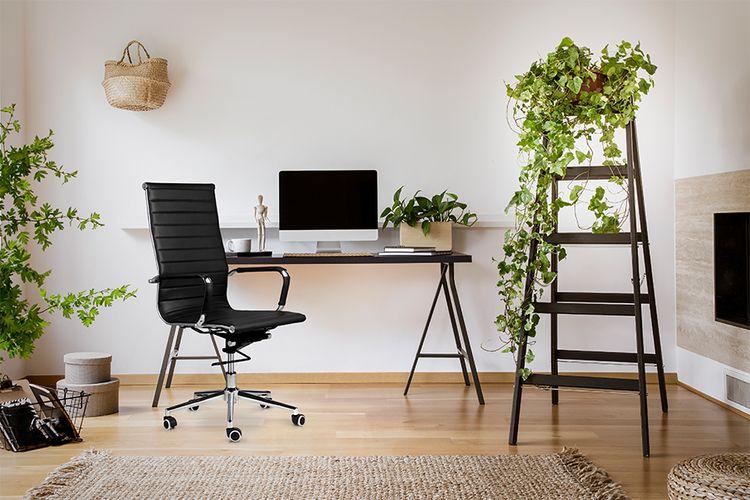 Korting Verstelbare bureaustoel van PU leer (zwart)