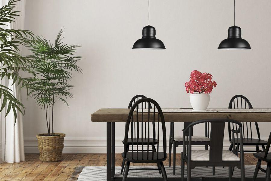 2 zwarte hanglampen van Lifa Living (model: Helsinki)