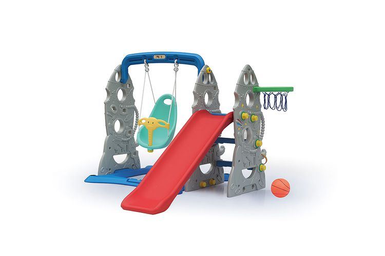 Speeltoestel met glijbaan en schommel (ruimte-thema)