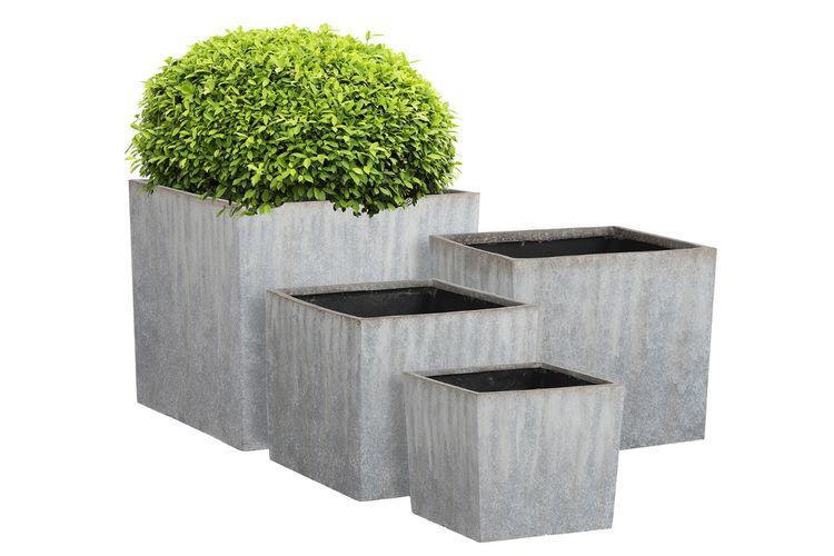 4-delige set van plantenbakken (kleur: grijs)