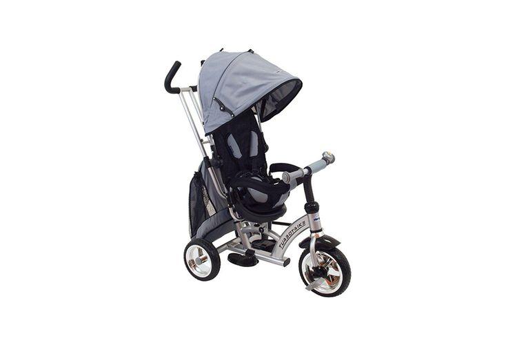 Grijze driewieler met zonnekap en duwstang van Babymix