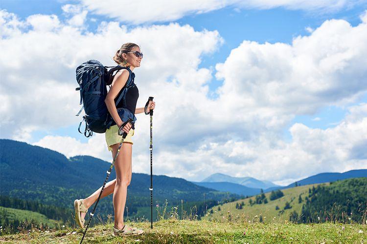Korting 2 trekkingstokken inclusief 5 voeten en opbergtas