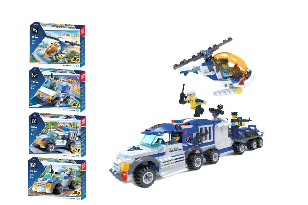 Twee-in-één politievoertuigen set van Blocki-bouwstenen