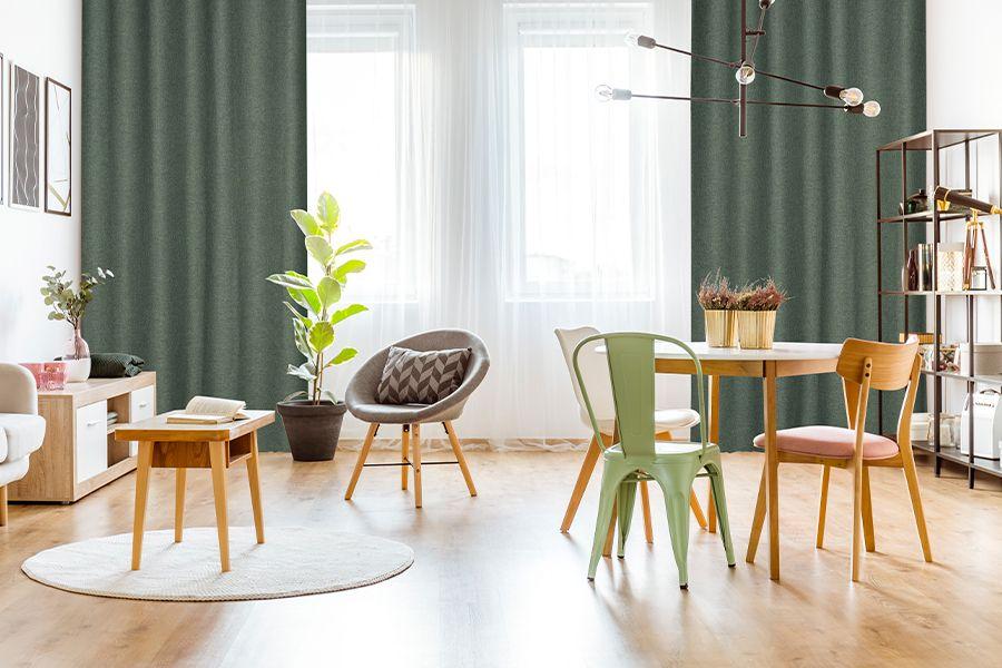 2 geweven groene gordijnen van Lifa Living