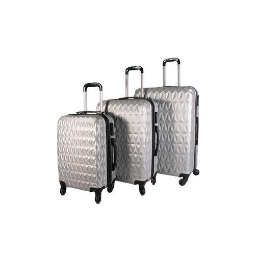 3-delige ABS kofferset met zigzag motief (zilver)