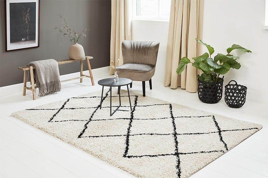 Hoogpolig vloerkleed met ruiten (200 x 290 cm)