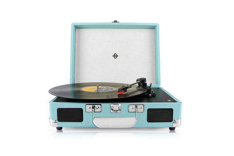 Retro platenspeler voor zowel vinyl als digitaal (blauw)