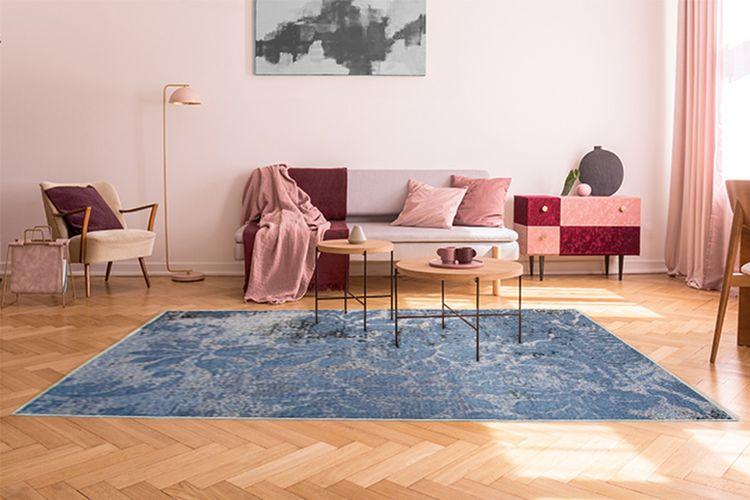 Vloerkleed met blauwe en grijze print (160 x 230 cm)