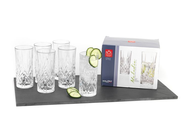 6 cocktail- - waterglazen (35 cl) van RCR