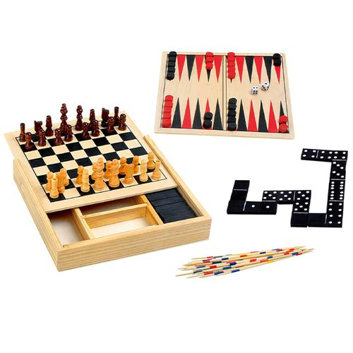 Doos met 4 compacte houten spellen (17x17cm)