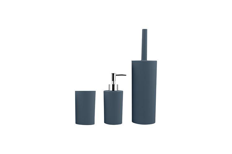 Accessoires salle de bains Bleu - Brosse WC, verre à dents et ...