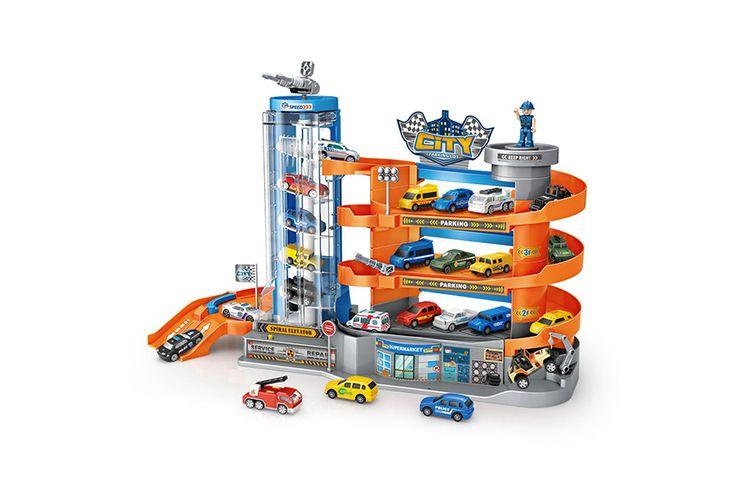 Speelgoed parkeerplaats met bewegende lift