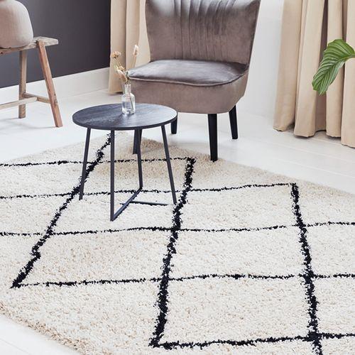 Hoogpolig vloerkleed met ruiten (160 x 230 cm)