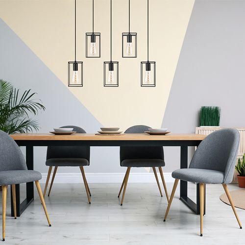 Zwart metalen hanglamp van VELYON (123 x 60 x 12 cm)