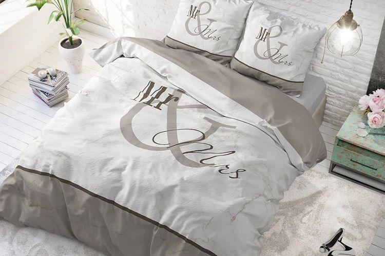 200 cm housse de couette parure de lit double en coton mod le mr mrs marble vavabid. Black Bedroom Furniture Sets. Home Design Ideas