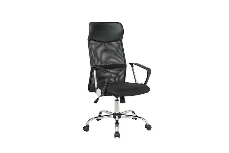 Zwarte bureaustoel met nekkussen