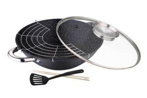 Gietijzeren wokpan met deksel van Masterpro (ø 28 cm)