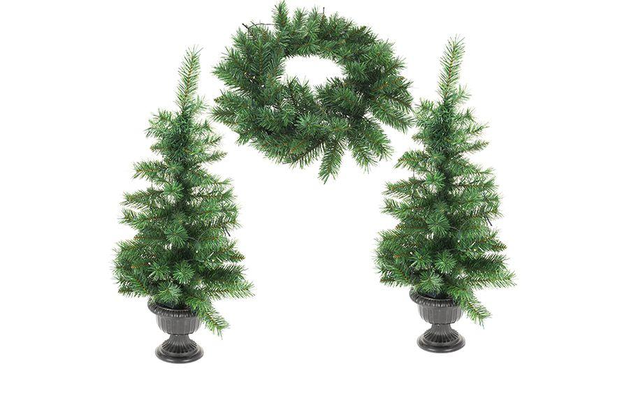 2 kerstbomen en 1 kerstkrans met led-lichtjes