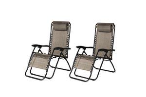 2 verstelbare ligstoelen van Lifa Garden (taupe)