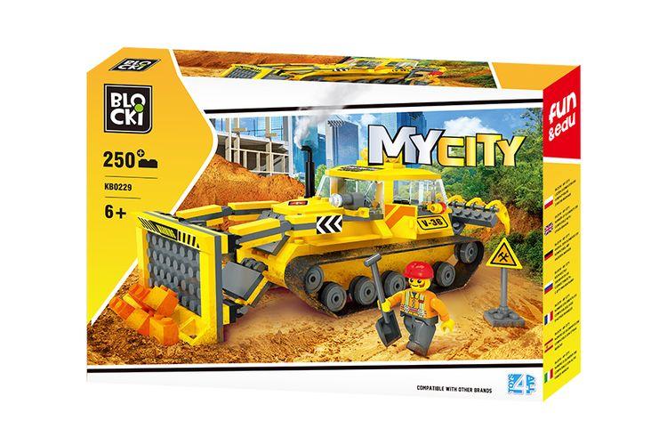Bulldozer van Blocki-bouwstenen