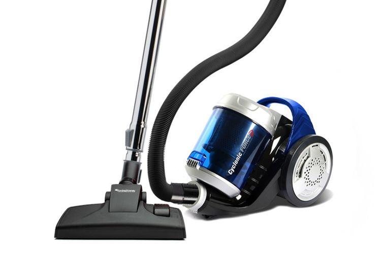 Blauwe krachtige stofzuiger met telescopische stang