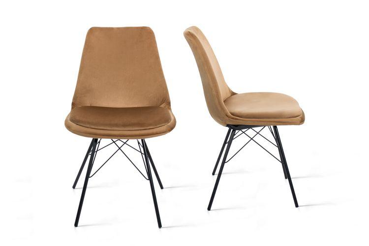 Set van 2 fluwelen stoelen (kleur: okergeel)