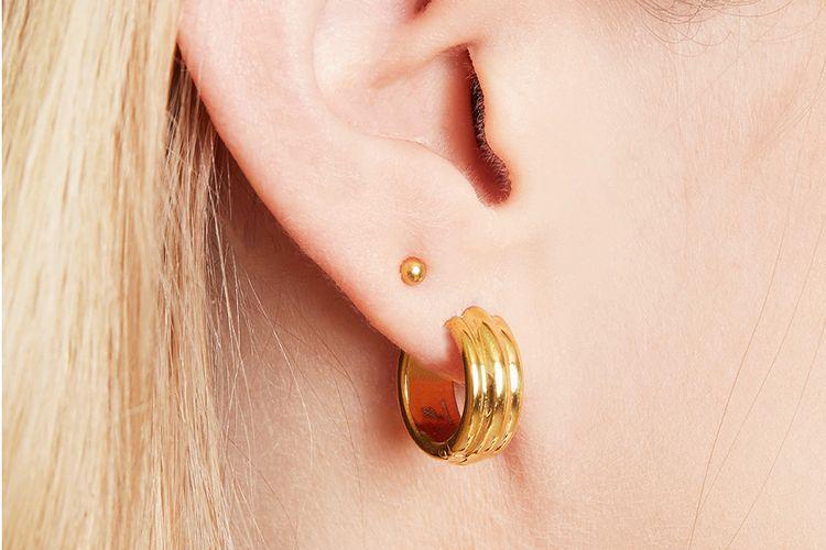 Goudkleurige roestvrijstalen oorbellen Glammish