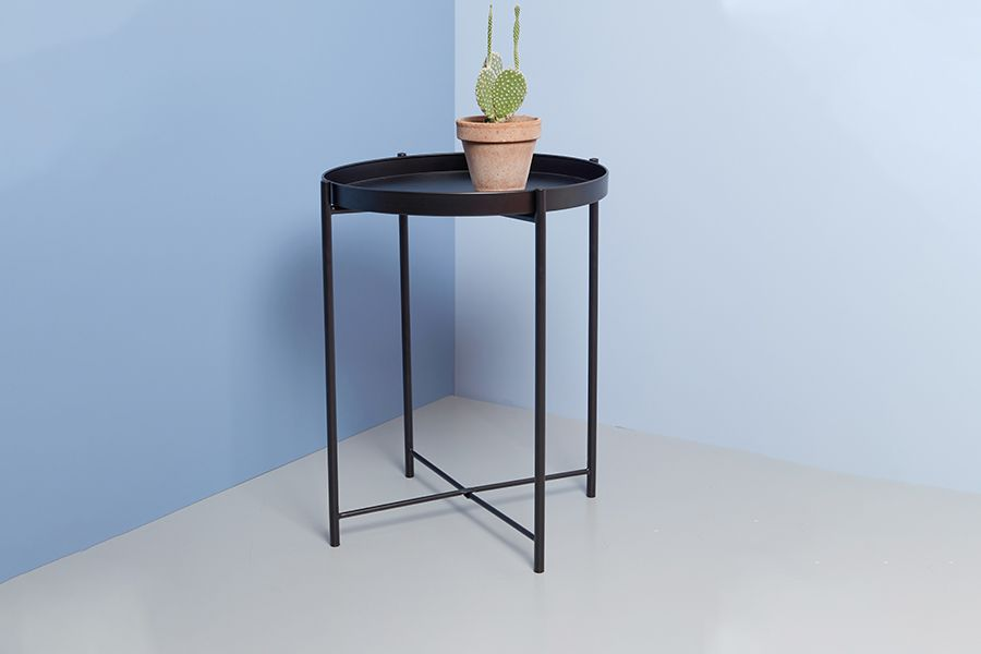 Zwarte metalen bijzettafel (Ø 38 x 50 cm)