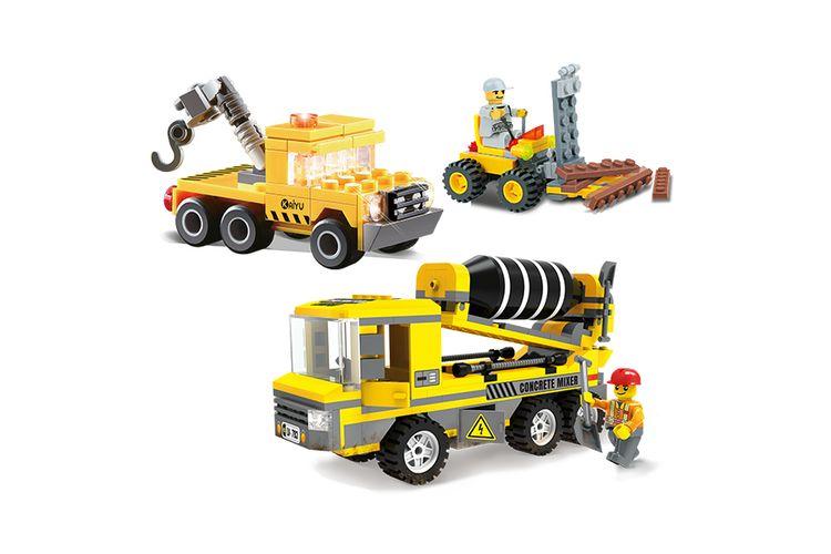 slajeslag 3 bouwvoertuigen van Blocki-bouwstenen