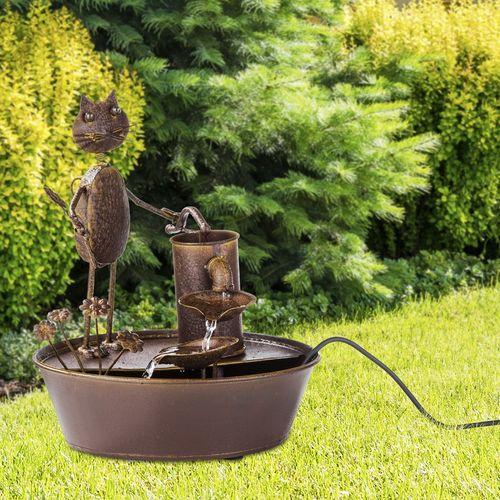 Metalen fontein met kat (13,7 x 16,7 cm)