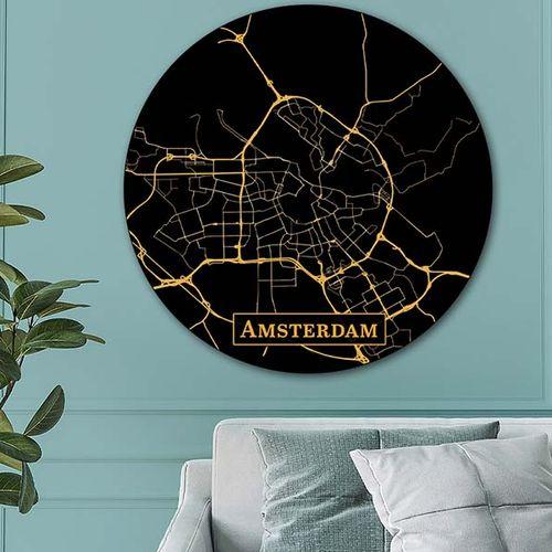 Wandcirkel met (wereld)stad