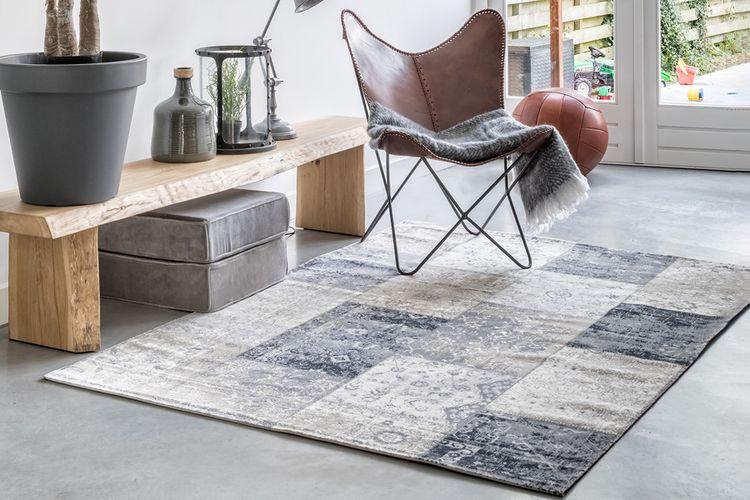 Grijs patchwork tapijt (160 x 230 cm)